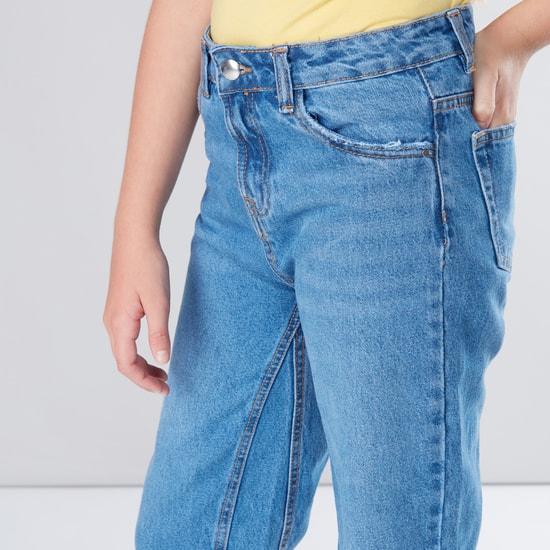 Pocket Detail Denim Culottes with Button Closure and Frayed Grazer Hem