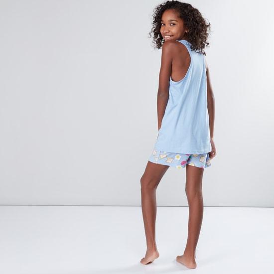 Printed Sleeveless T-Shirt with Shorts