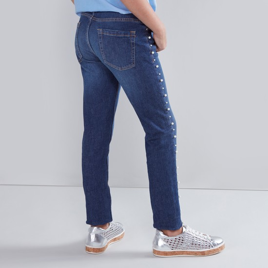 Full Length Jeans with Embellished Side Tape Detail