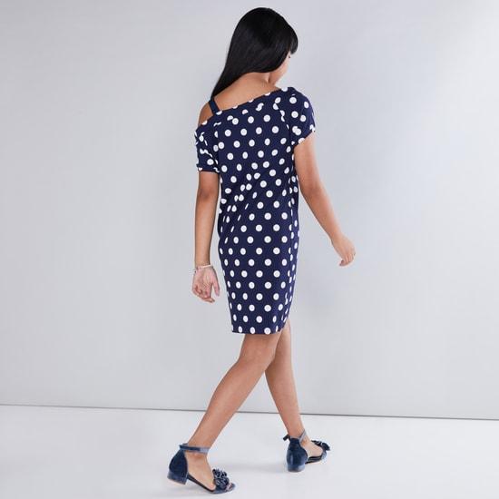 Polka Dot Printed Sequin Detail One Shoulder Dress