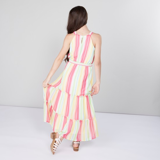 Striped Maxi Dress with Floral Applique Detail