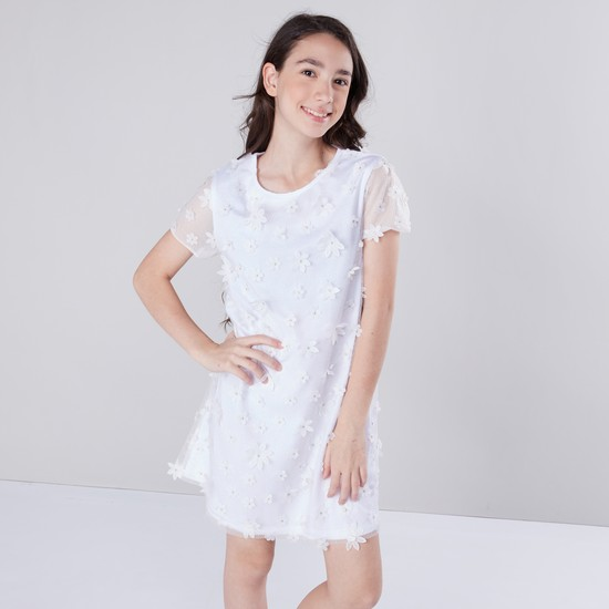 Floral Applique Dress with Short Sleeves