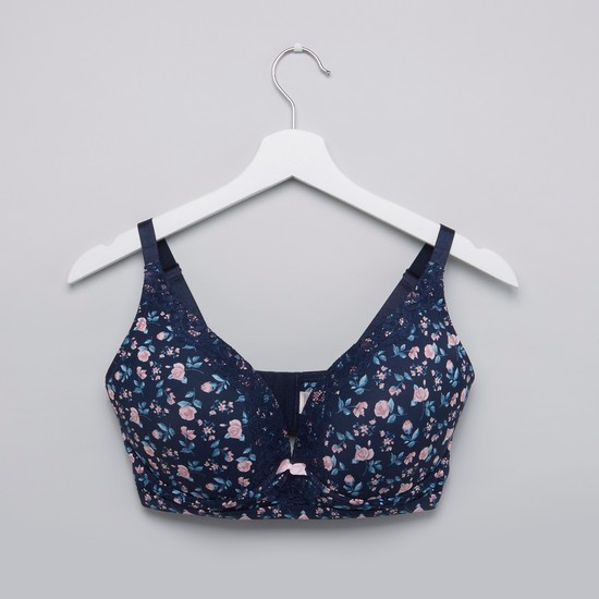 Floral Printed Padded Wired Bra with Hook and Loop Closure