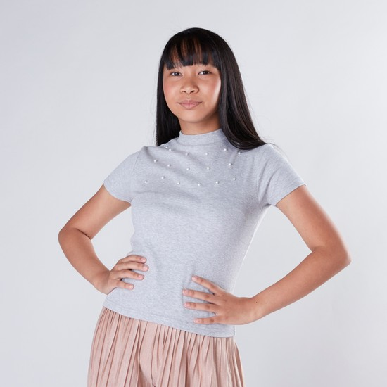 Embellished T-shirt with Turtle Neck and Short Sleeves