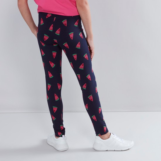 Watermelon Printed Leggings with Elasticised Waistband