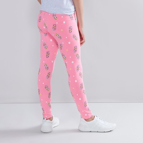 Graphic Print Leggings with Elasticated Waistband