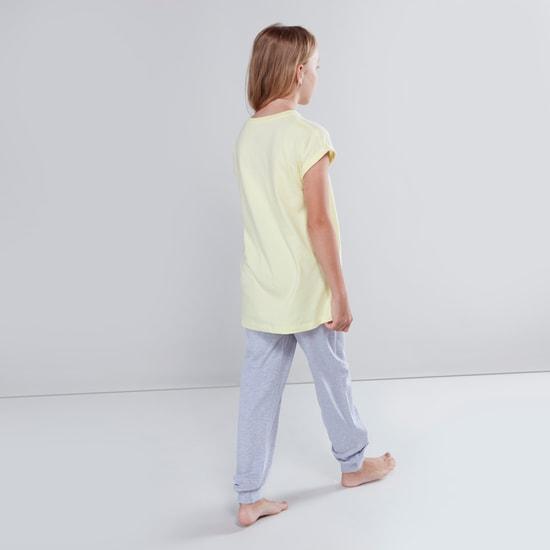 Printed Round Neck Top with Textured Pyjama Set