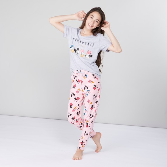 Mickey & Friends Printed Round Neck T-shirt with Jog Pants