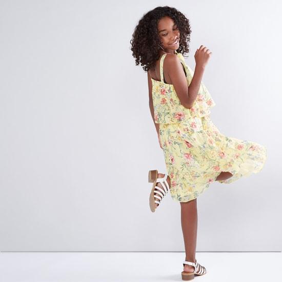 فستان كشكش بطبعات زهرية