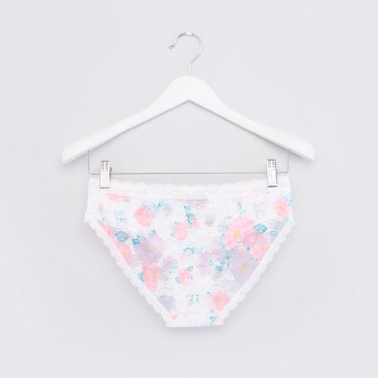 Floral Printed Lace Bikini Briefs