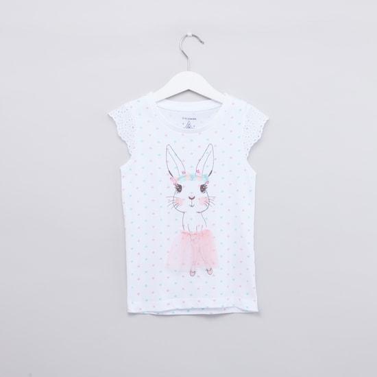 Polka Dot Printed Top and Pyjama Set