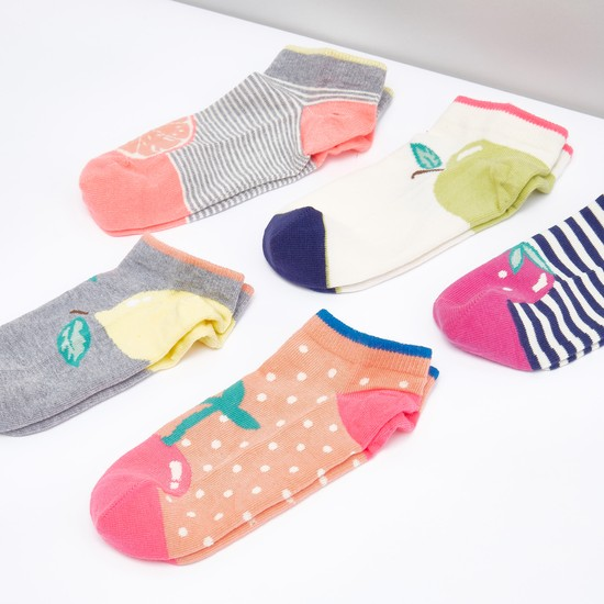 Set of 5 - Assorted Printed Ankle Socks