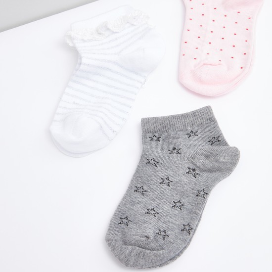 Set of 3 - Printed Cotton Ankle Length Socks