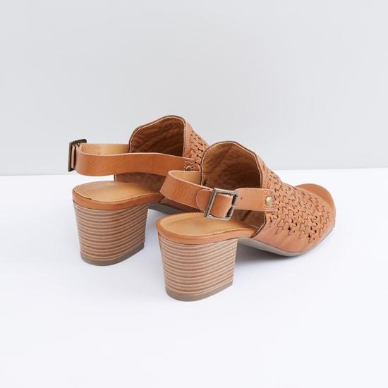 Textured Block Heel Sandals with Pin Buckle Closure