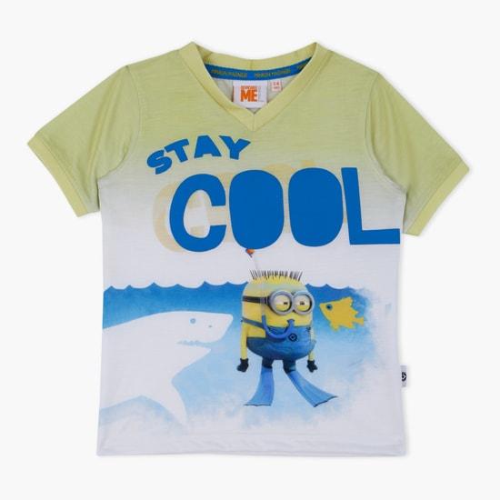 Minion Printed V-Neck T-Shirt