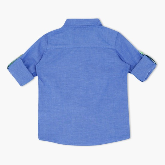 Textured Shirt with Long Sleeves and Tabs