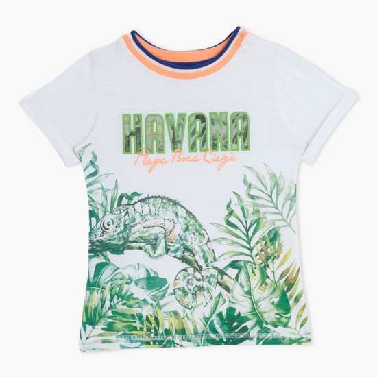 Printed Short Sleeves Round Neck T-Shirt with Applique Work