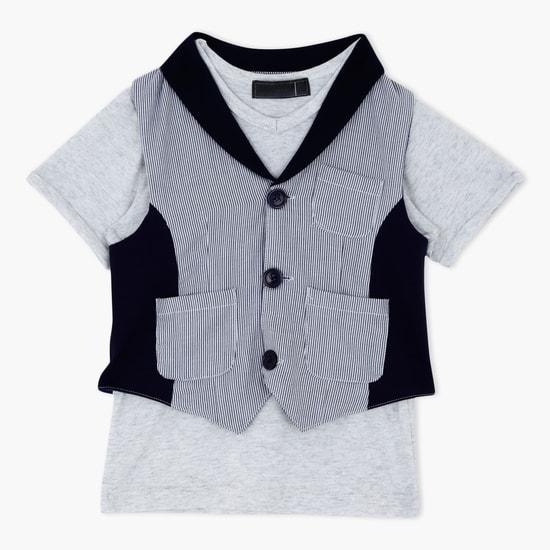 Round Neck T-Shirt and Waistcoat Set