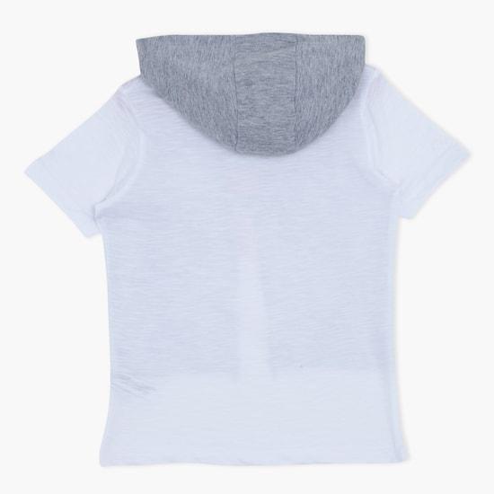 Printed Short Sleeves Hooded T-Shirt