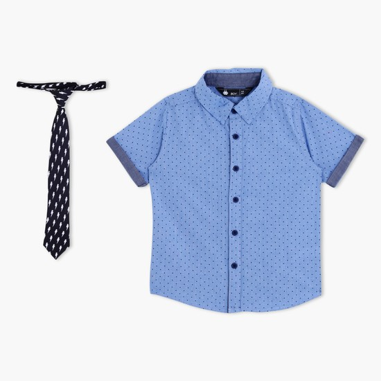 Printed Short Sleeves Shirt with Tie