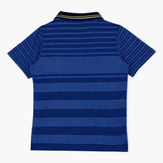 Striped Short Sleeves Polo Neck T-Shirt