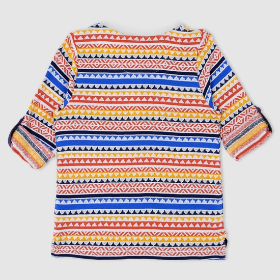 Printed Henley Neck T-Shirt with Tabs