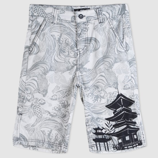 Printed Shorts with Button Closure
