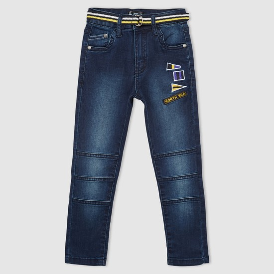 Full Length Jeans with Applique and Belt Detail