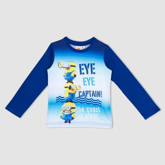 Minions Print T-Shirt with Long Sleeves