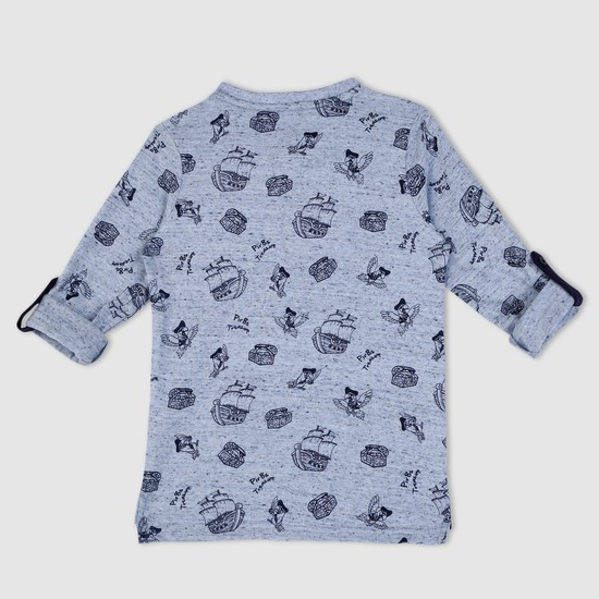 Printed Henley Neck T-Shirt with Long Sleeves and Tabs