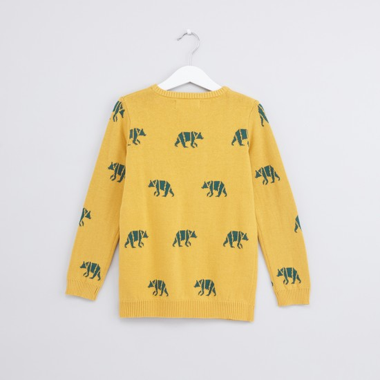 Printed Round Neck Long Sleeves Sweater