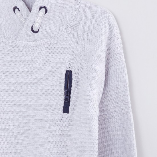 Textured High Neck Sweater with Long Sleeves and Zip Detail