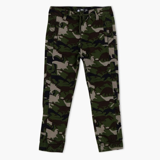 Printed Pants with Elasticised Cuffs