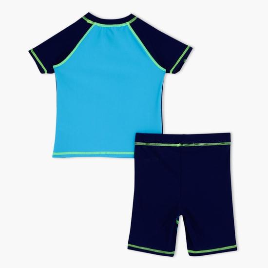 Printed Short Sleeves Swim Set
