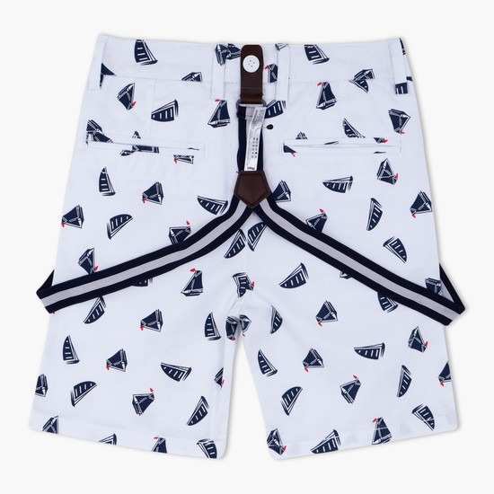 Printed Knee Length Shorts with Button Closure