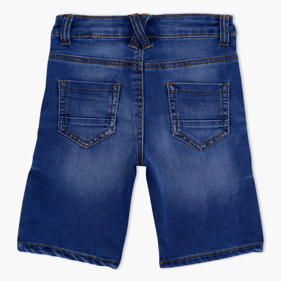 Faded Denim Shorts with Buttoned Closure