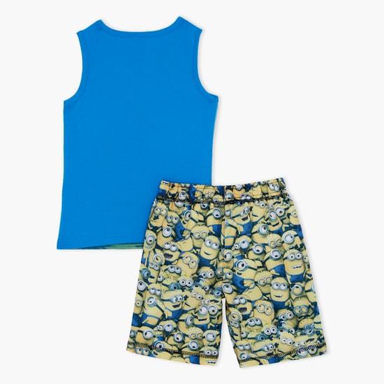 Despicable Me Printed Sleeveless T-Shirt and Shorts Set