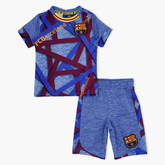 FC Barcelona Printed T-Shirt and Shorts Set