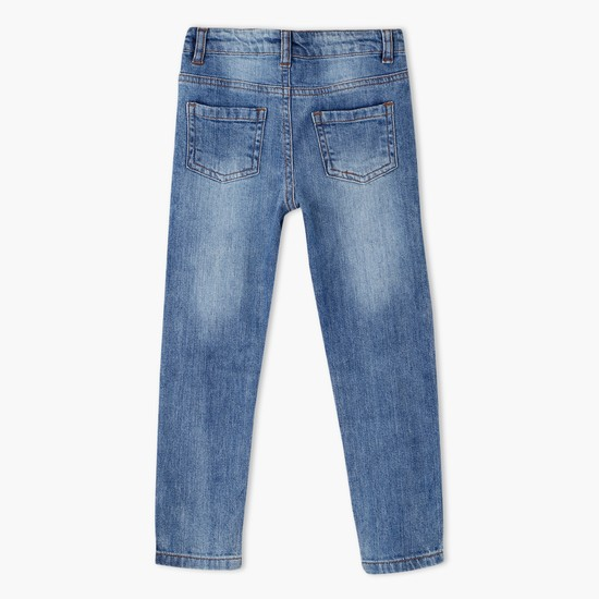 Faded Full Length Jeans with Contrast Patch