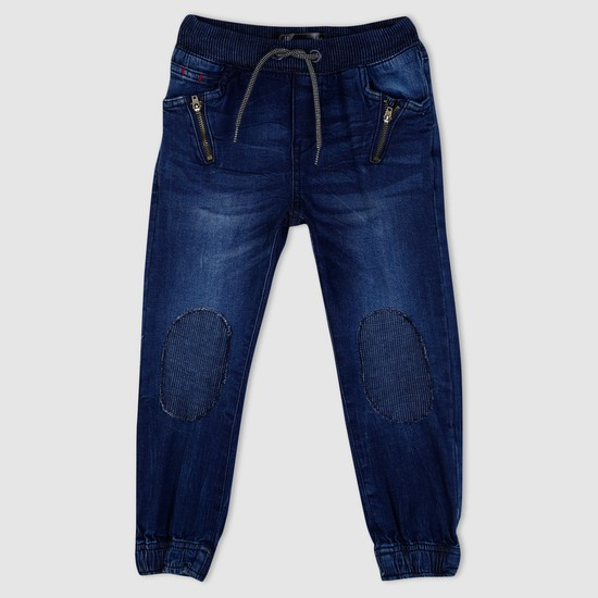 Denim Cuff Pants with Drawstring and Zip Detailing