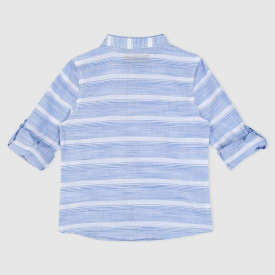 قميص منسوج بتصميم مخطّط وياقة ماندارين