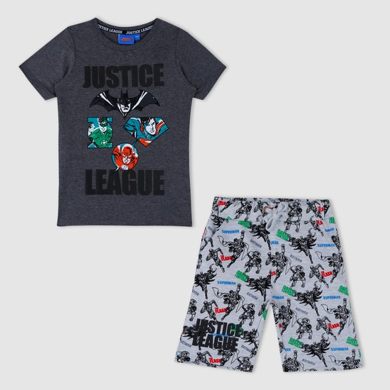 Justice League Print T-Shirt and Shorts Set