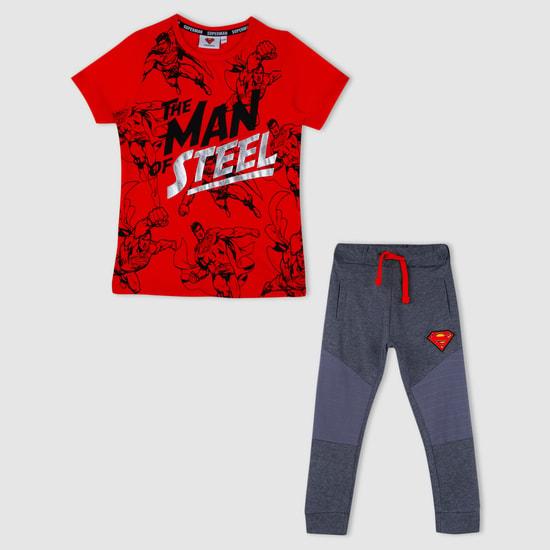 Superman Print T-Shirt and Jog Pants Set