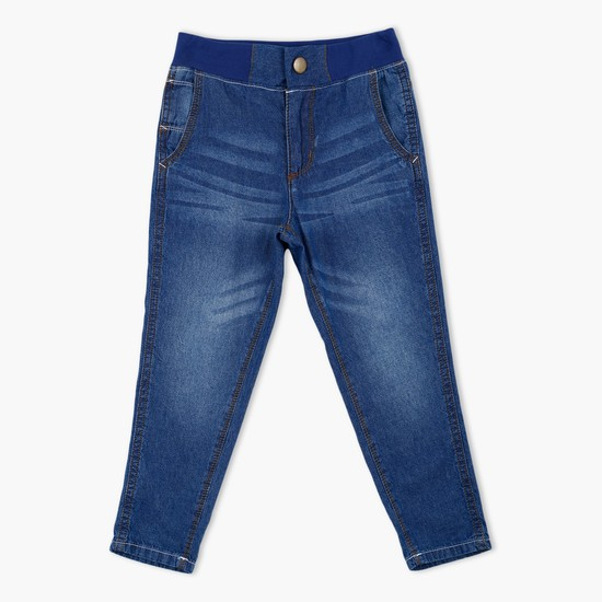 Faded Full Length Jeans with Button Closure