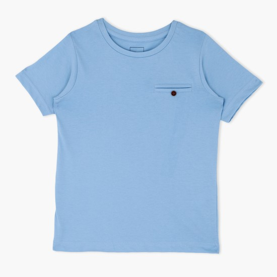 Short Sleeves Crew Neck T-Shirt with Welt Pocket