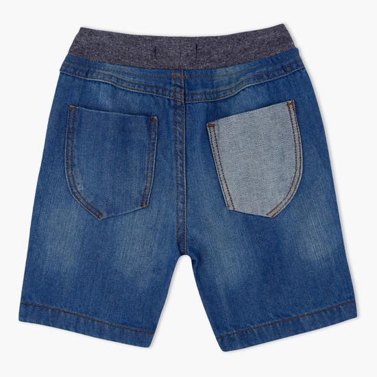 Denim Pull On Shorts with Contrasting Pocket