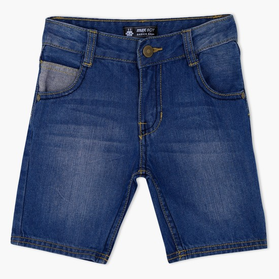 Denim Shorts with Contrasting Pocket