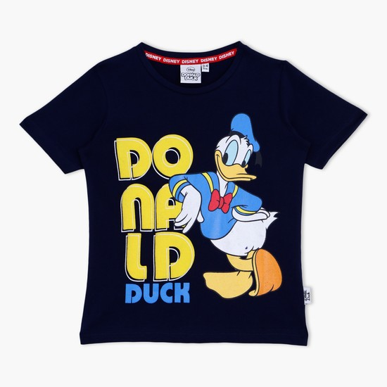 Donald Duck Printed T-Shirt with Round Neck and Short Sleeves