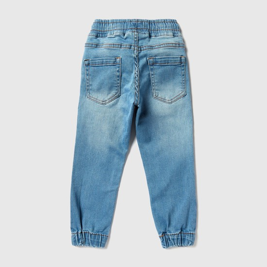 Pocket Detail Full Length Jeans with Elasticised Cuffs and Drawstring