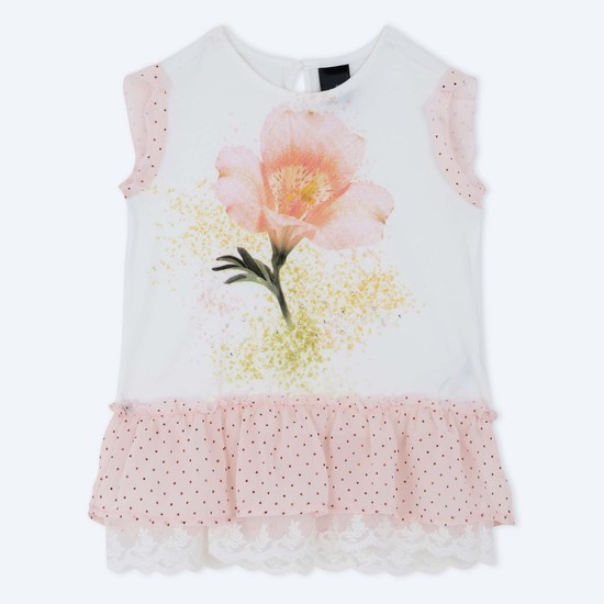 Knitted Top with Frill Hem and Lace Trim